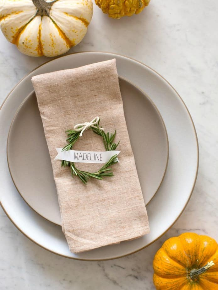 Rosemary wreath Thanksgiving Tablescape