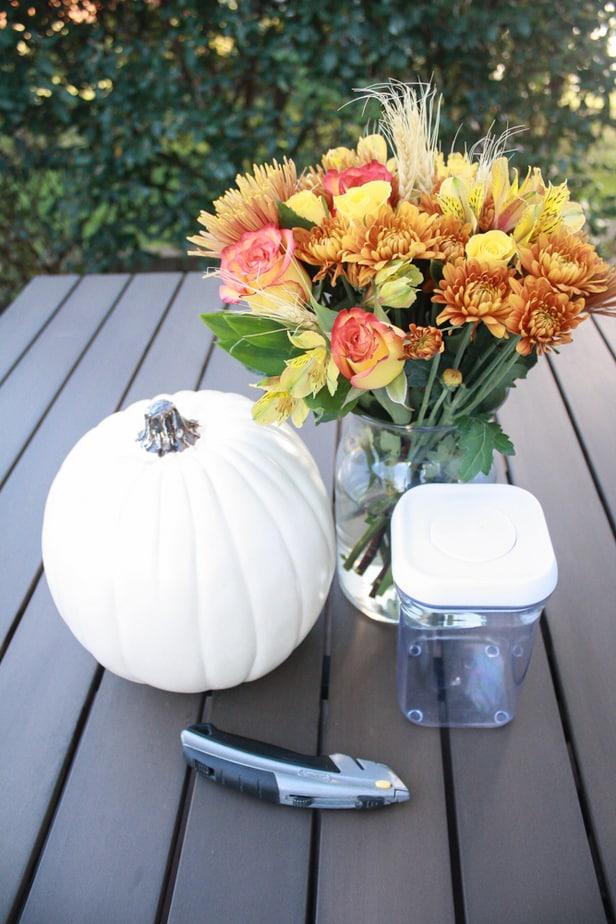 Fall Pumpkin Flower Arrangement