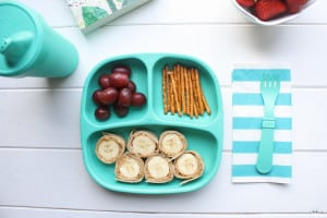 Toddler Lunch with peanut butter banana sushi roll