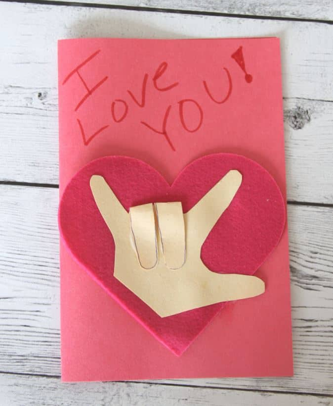 ASL i love you hand valentines day card
