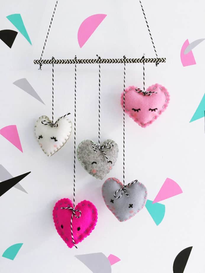 Valentine's Day craft heart mobile